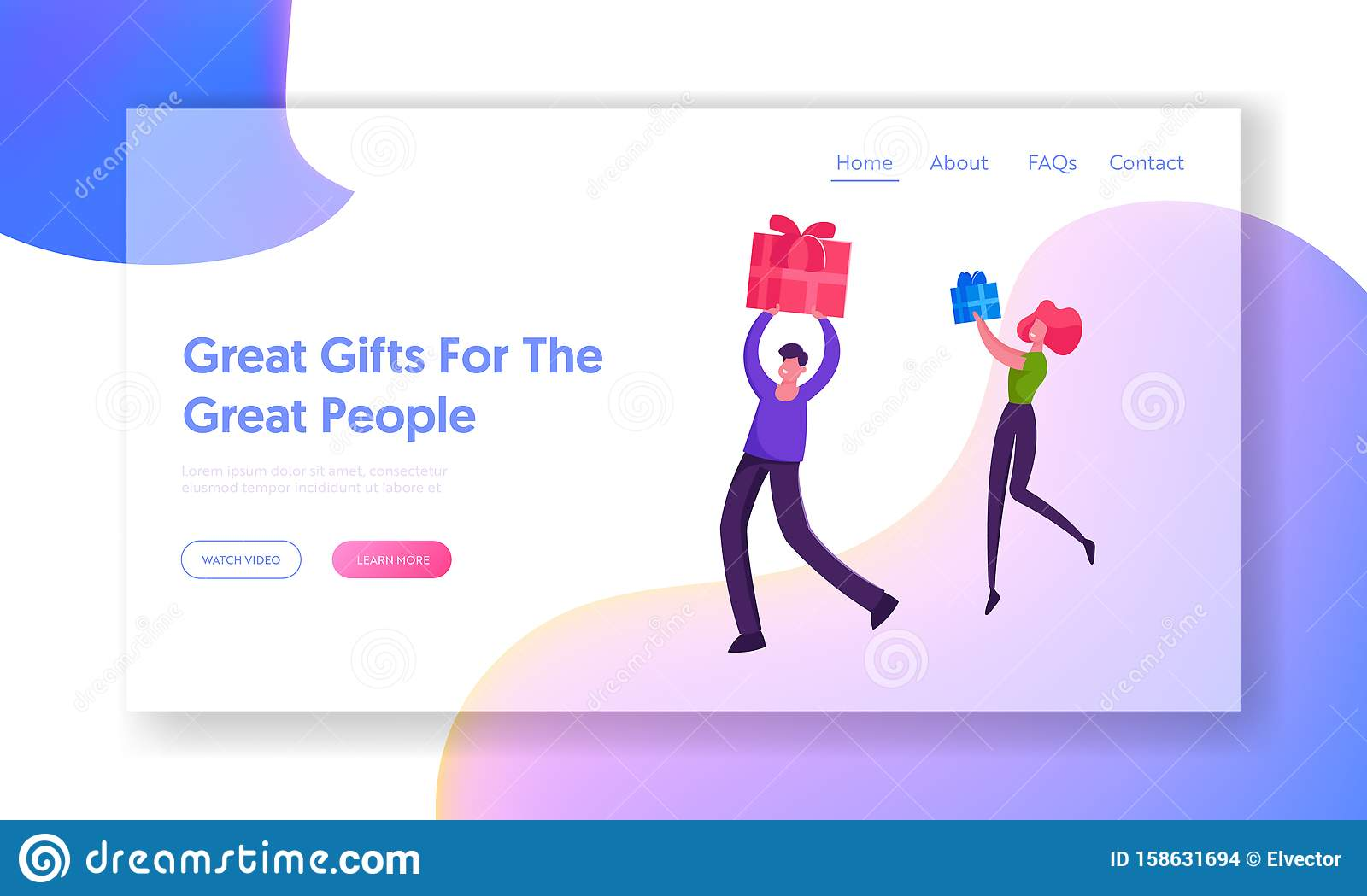 Happy Loving Couple or Friends Greetings Website Landing Page. Characters Prepare Presents on Winter Holidays