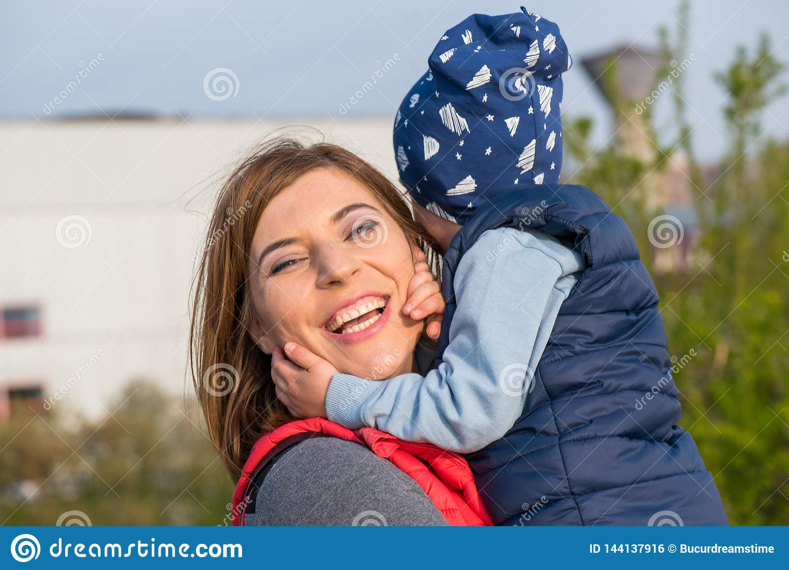 Happy loving family. mother and child playing