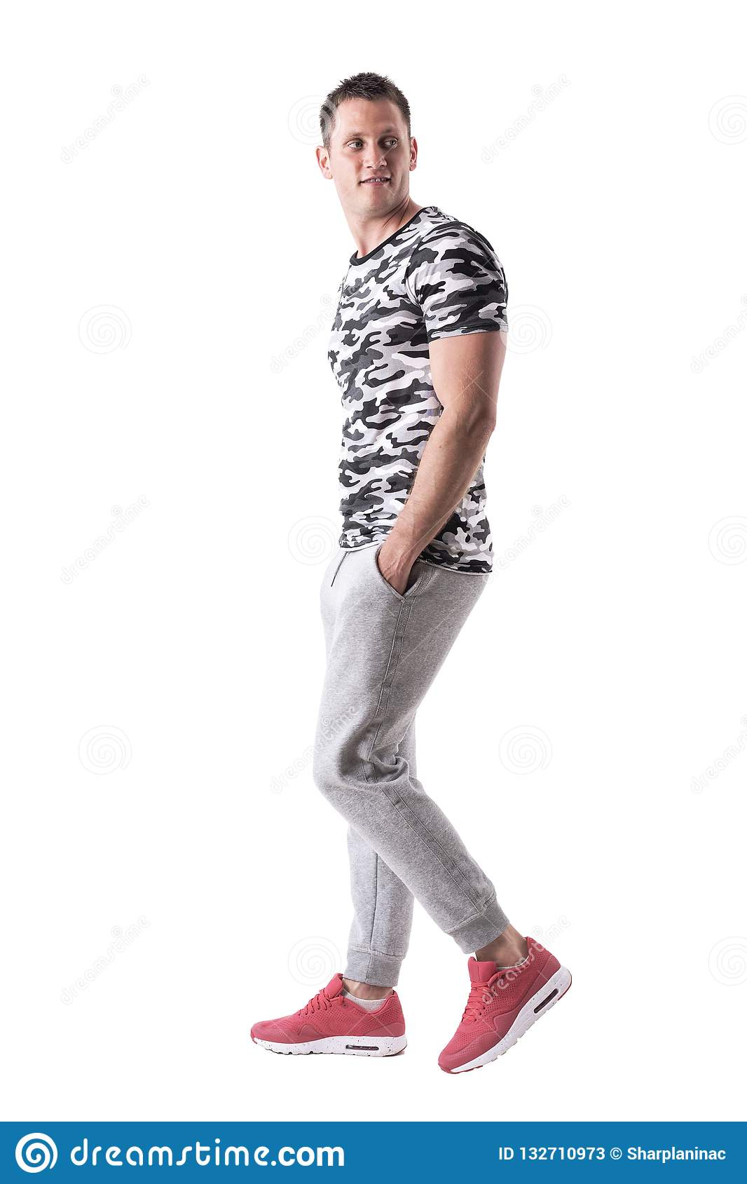 463684cf0e Happy Macho Sporty Young Man Walking