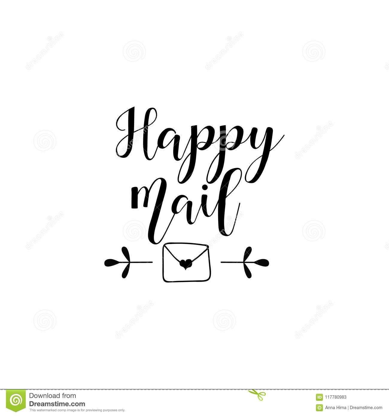 happy mail lettering love letter with heart template for love