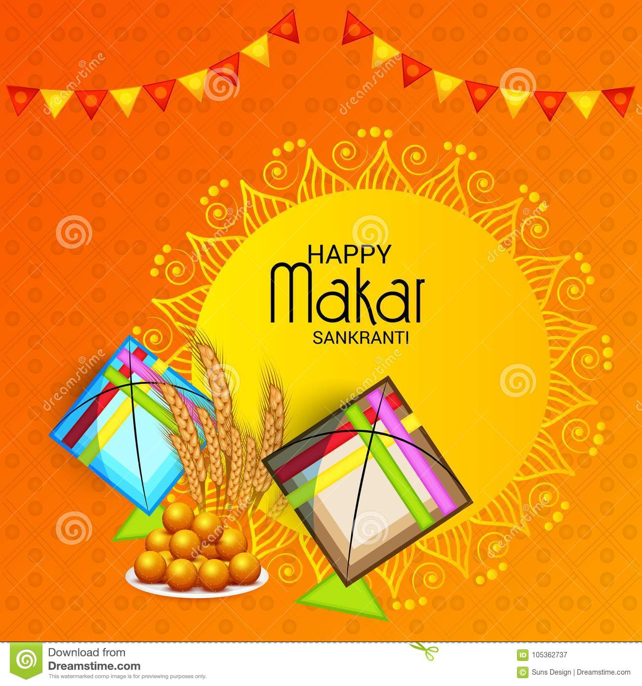 Happy Makar Sankranti Festival Celebration Stock Illustration