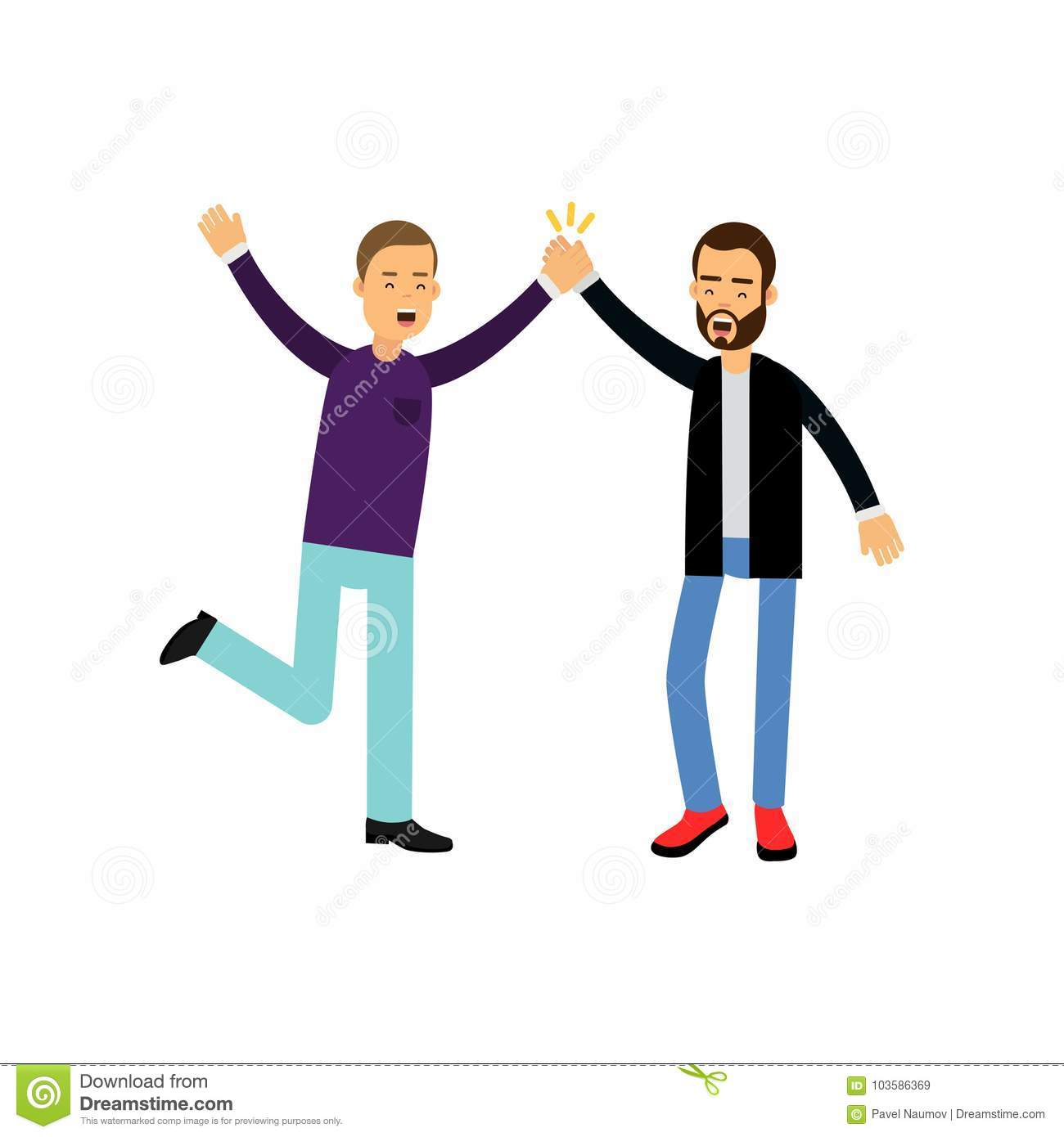 Happy male best friends give five to each other, happy friendship