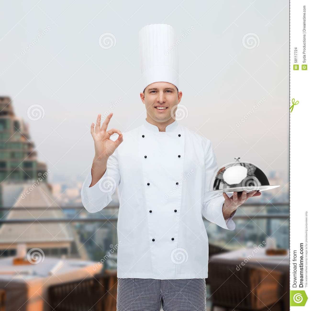 happy male chef cook with cloche showing ok sign stock photo image