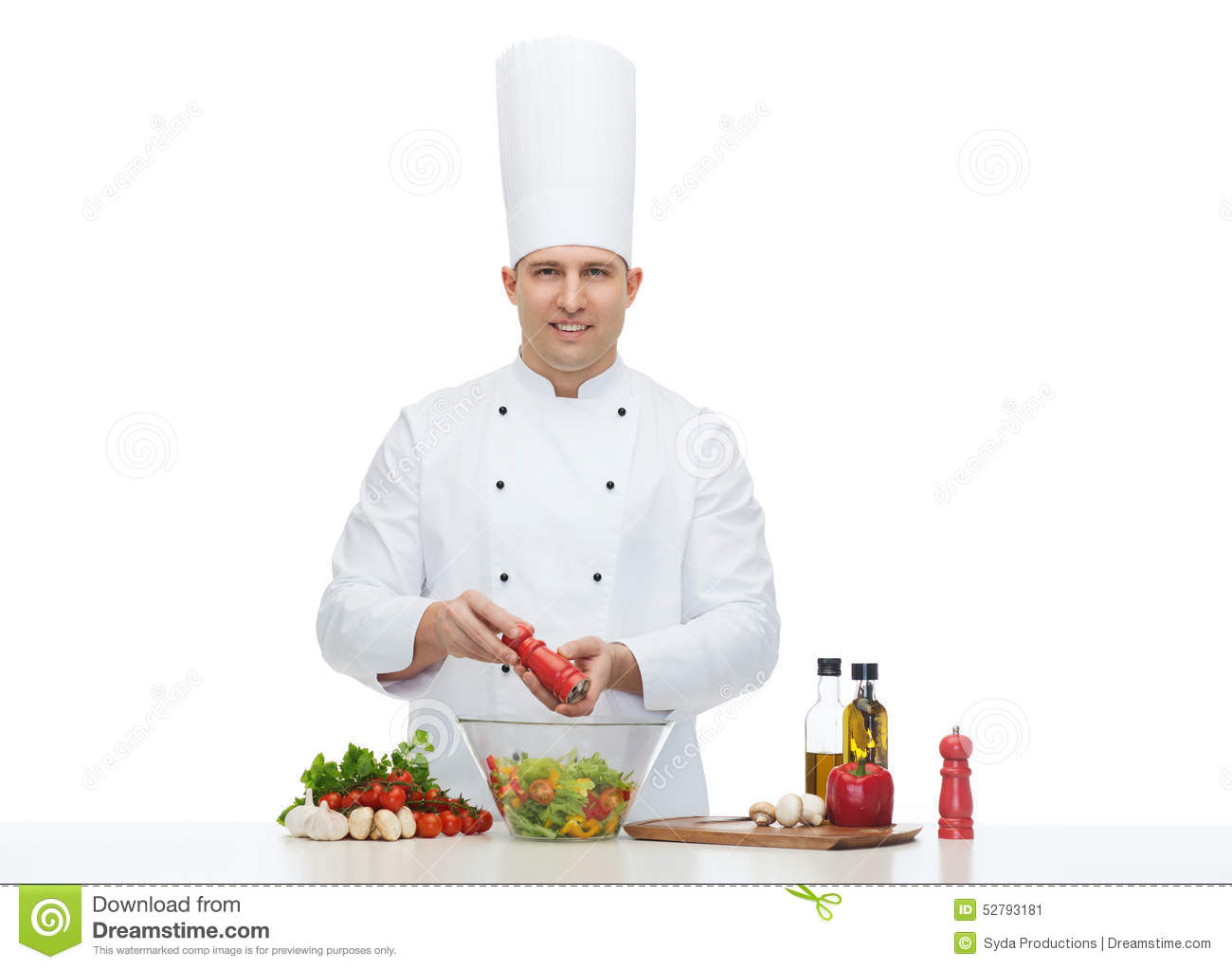 happy male chef cook cooking food stock photo image 52793181. Black Bedroom Furniture Sets. Home Design Ideas