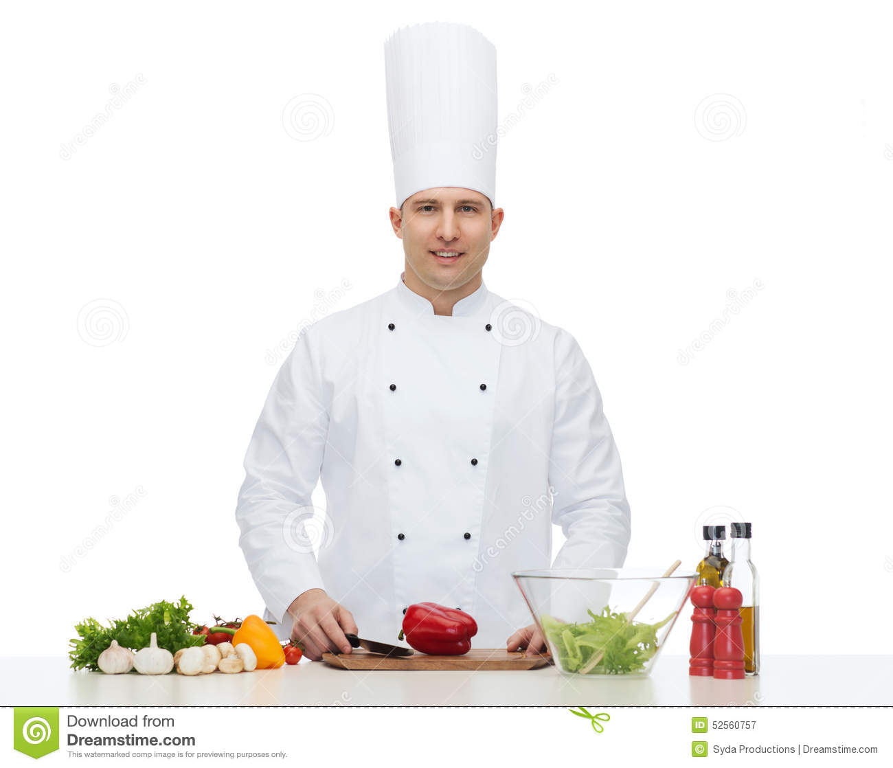 Happy Male Chef Cook Cooking Food Stock Photo - Image: 52560757
