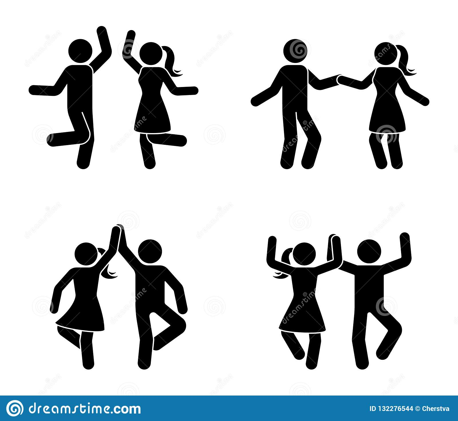 Happy male and female stick figure dancing together. Black and white party icon pictogram.