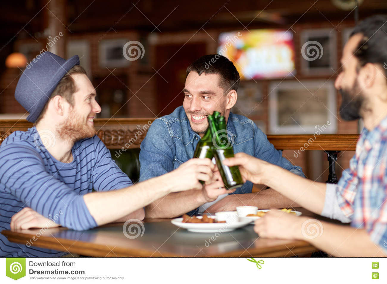 Happy Male Friends Drinking Beer At Bar Or Pub Stock Image ...