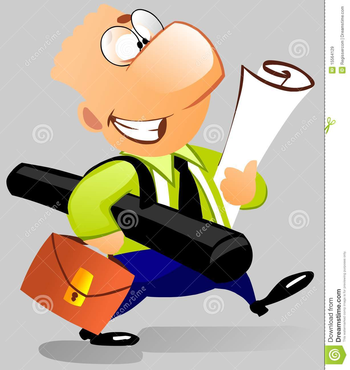 Cartoon illustration. Happy man architect with a briefcase and ...
