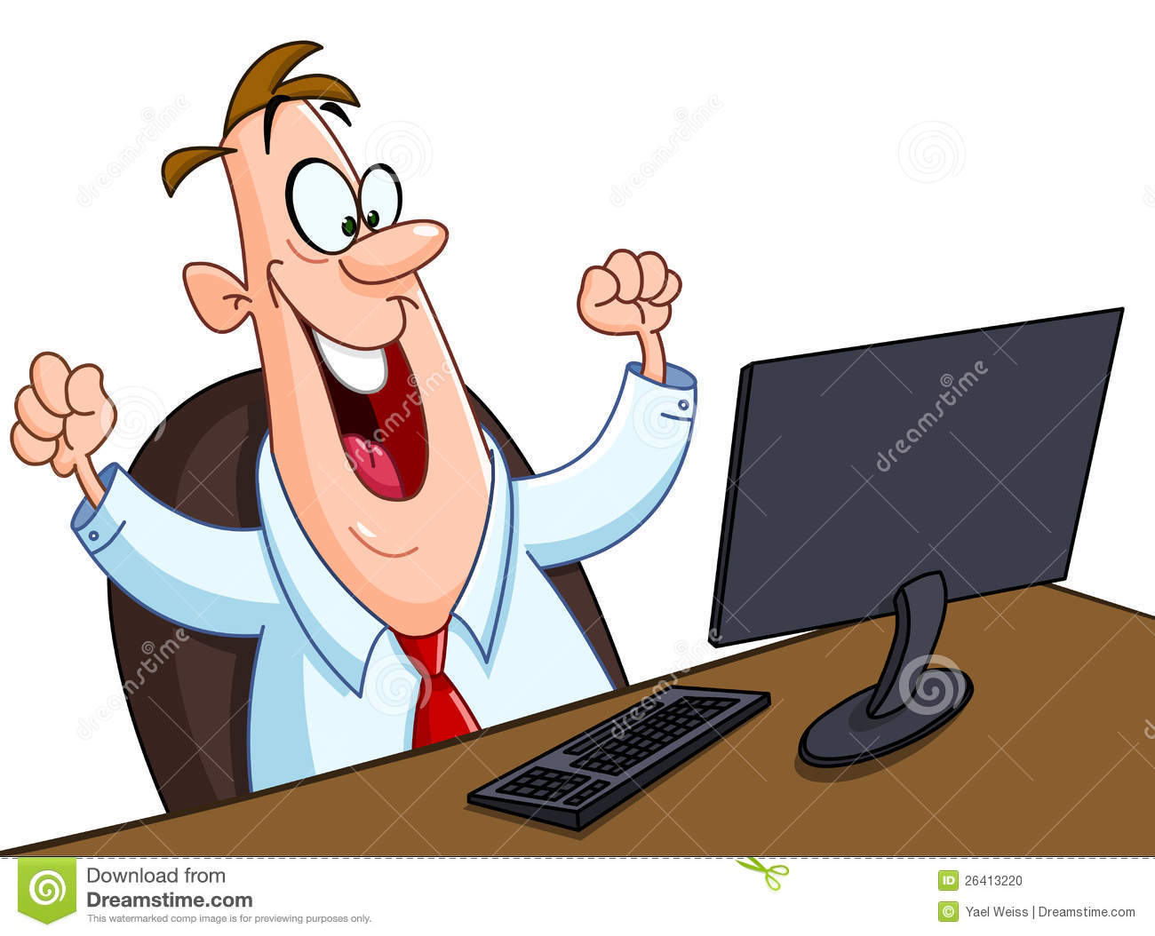 Happy Man With Computer Stock Vector Illustration Of