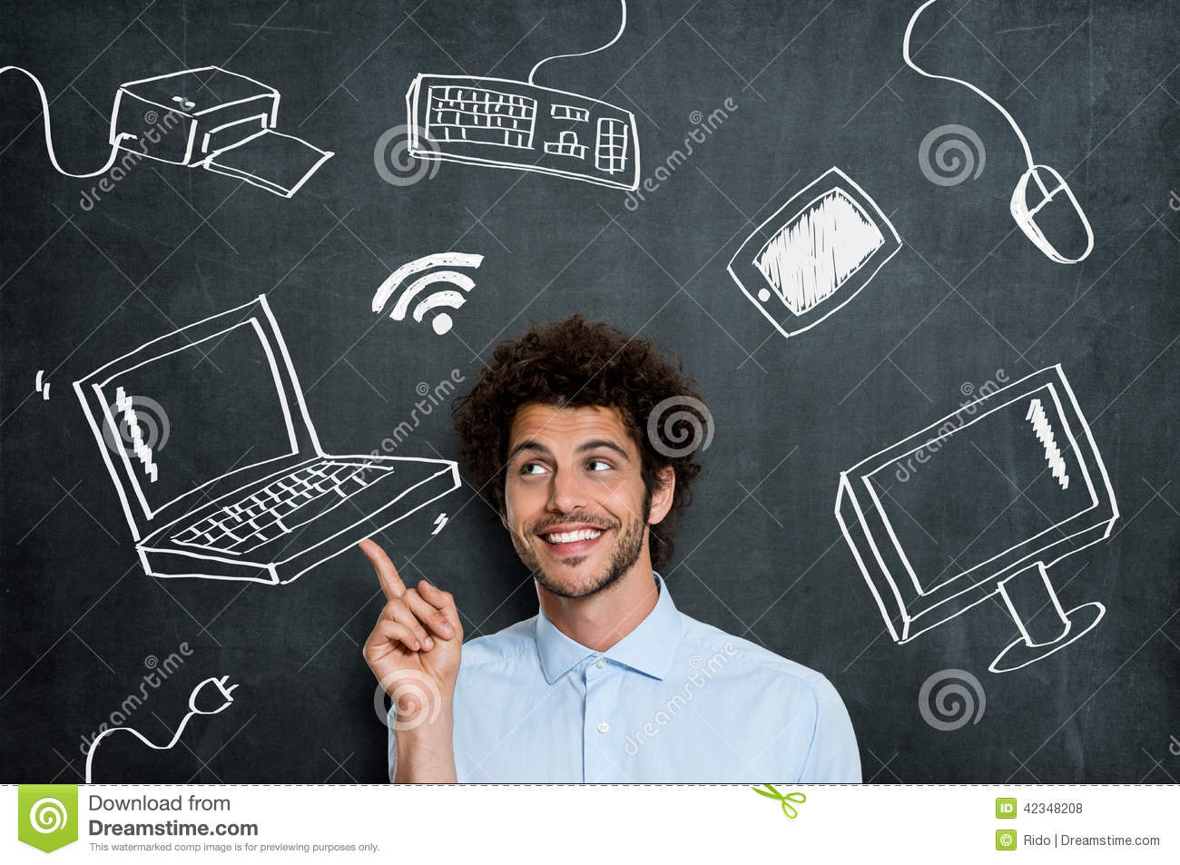 Happy man with computer technology