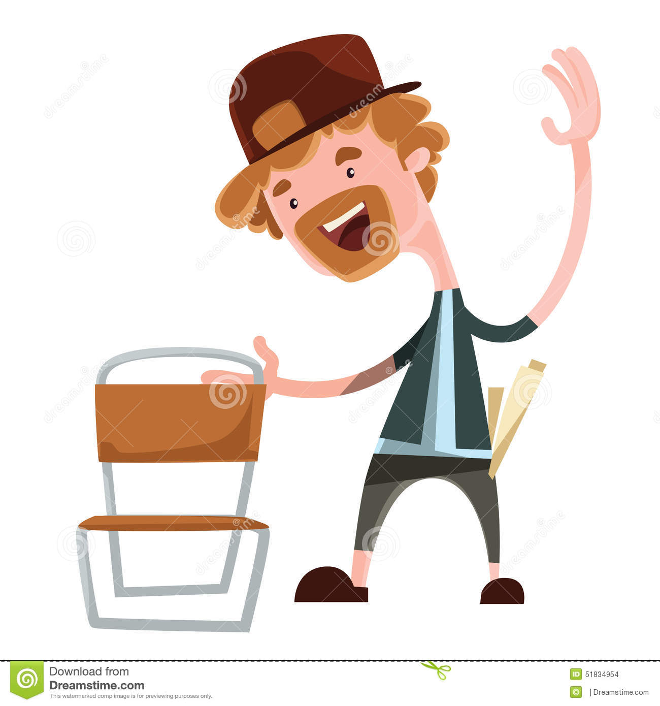 Happy man grabing chair illustration cartoon character for Chaise 3d dessin