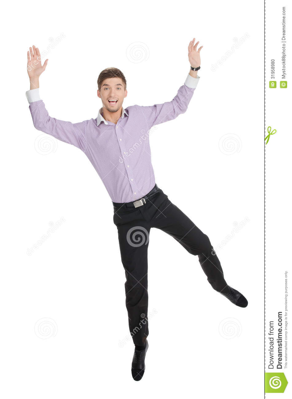 Happy Man. Happy Young Men Jumping With His Hands Up Against White ... Happy Child Clipart