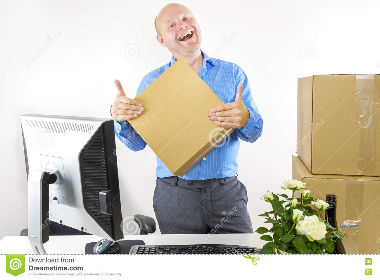 first day of work stock photo image 43751704 happy man has first day of work royalty stock photos