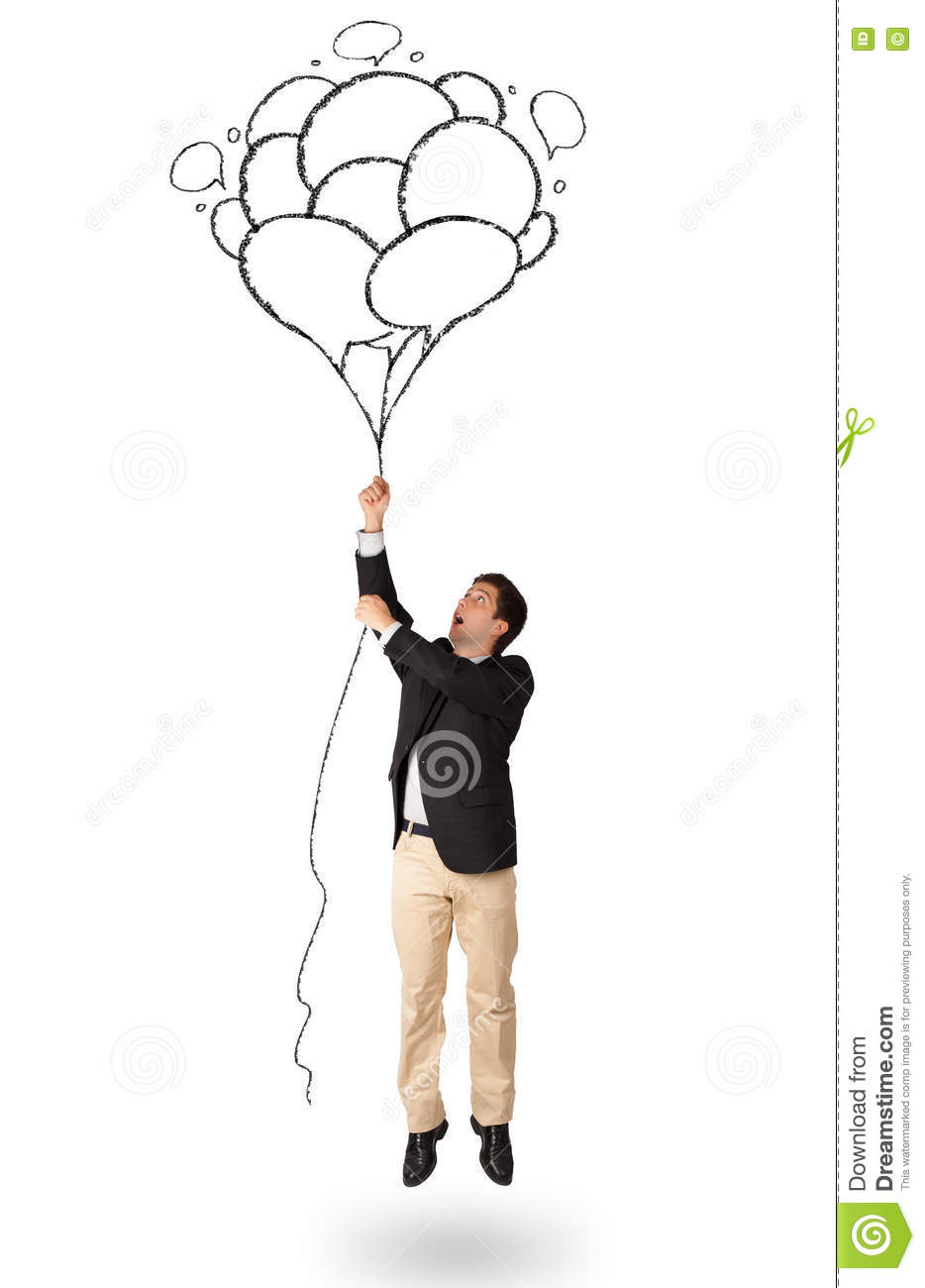 Happy Man Holding Balloons Drawing Stock Image - Image of carefree