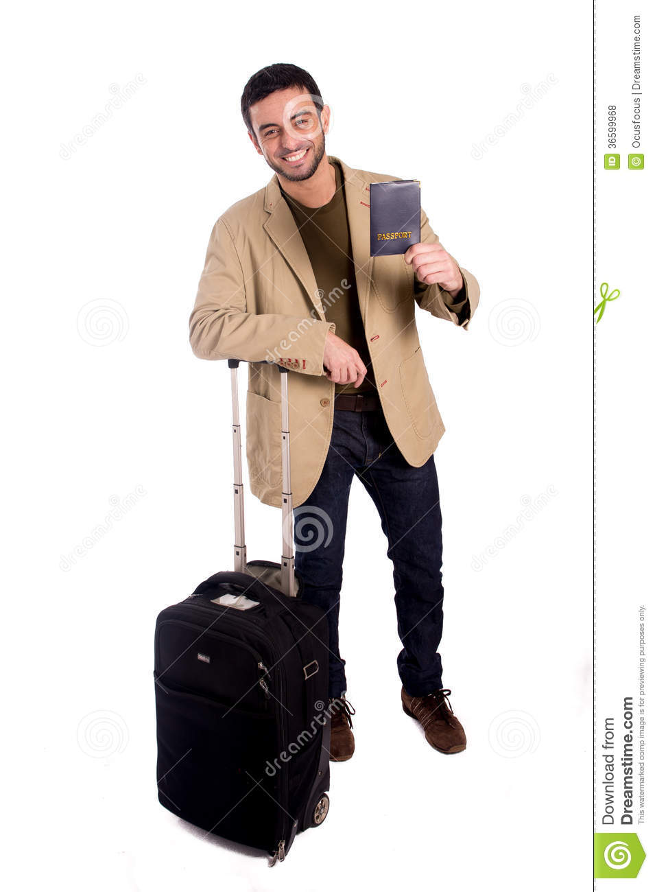 The Young Man In Travel Concept Isolated On White Stock ...