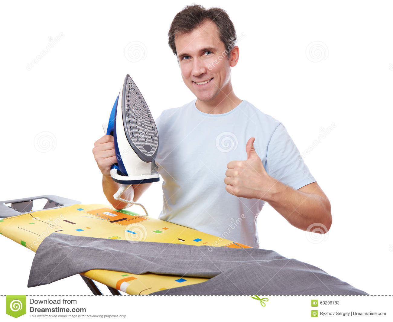 happy-man-ironing-pants-showing-gesture-