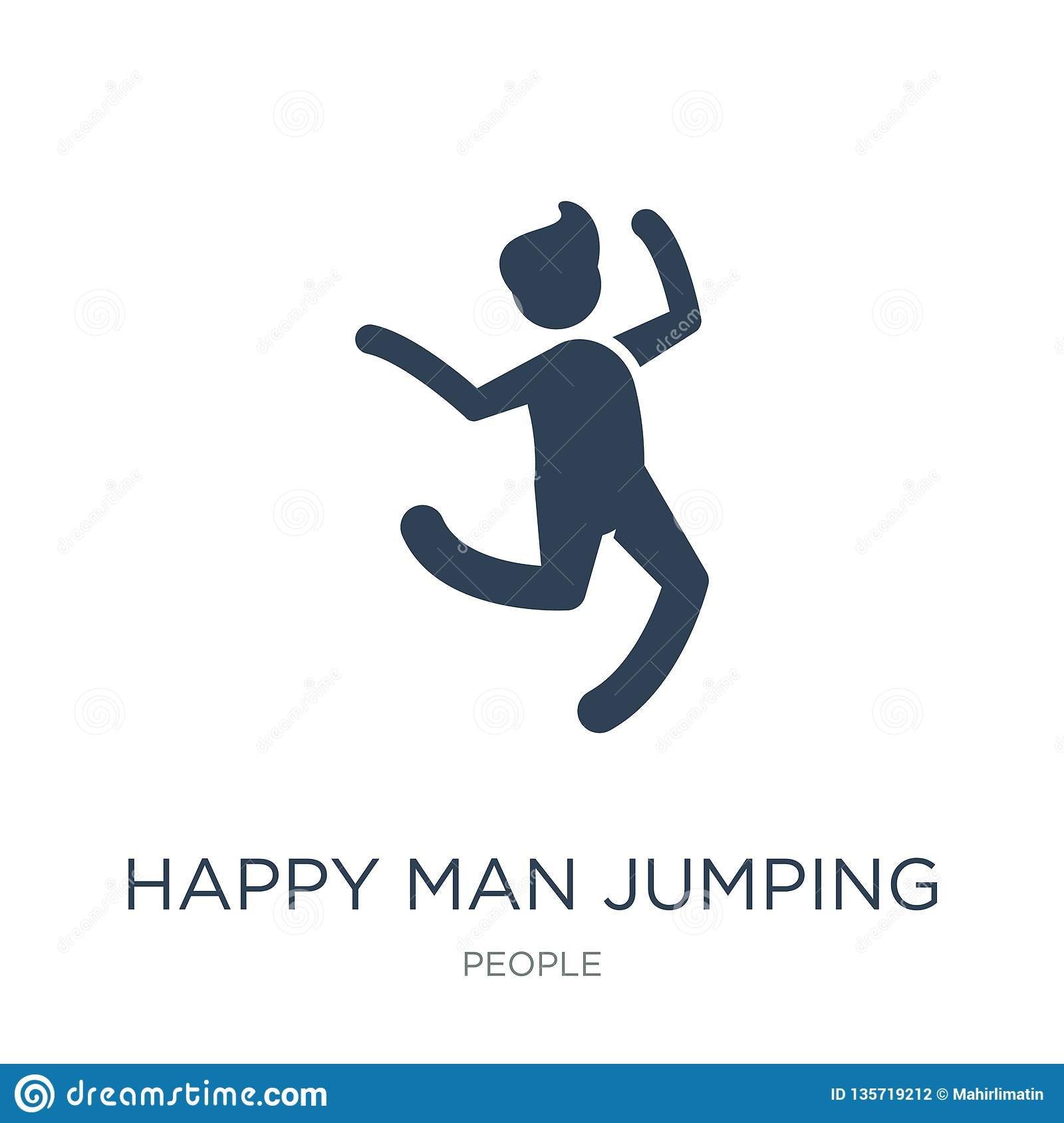 happy man jumping icon in trendy design style. happy man jumping icon isolated on white background. happy man jumping vector icon