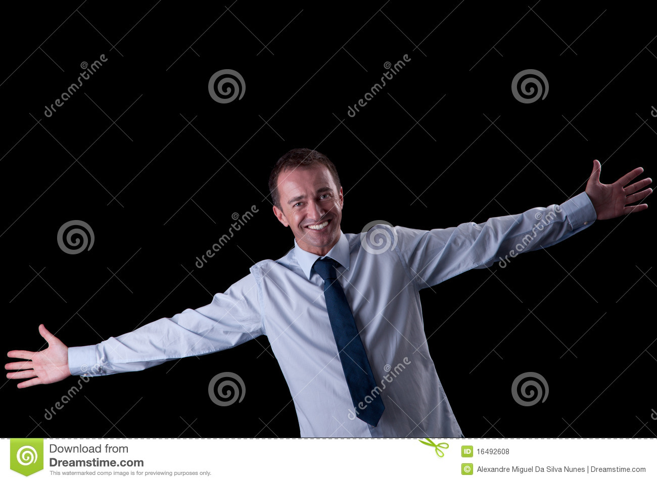 Happy man with open arms