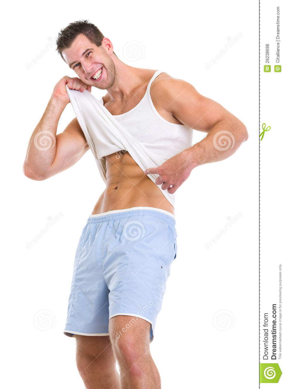 Happy Man Pointing On Abdominal Muscles Royalty Free Stock ...