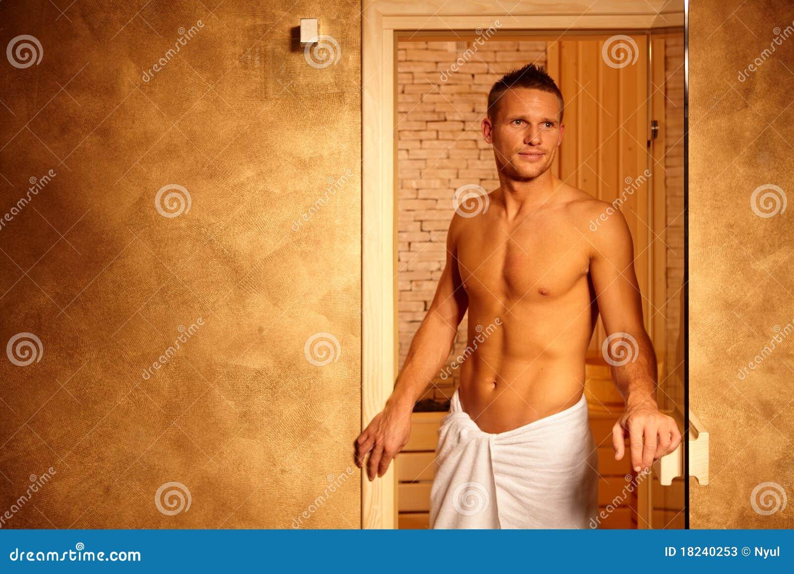 happy man after sauna stock image image of care image 18240253. Black Bedroom Furniture Sets. Home Design Ideas