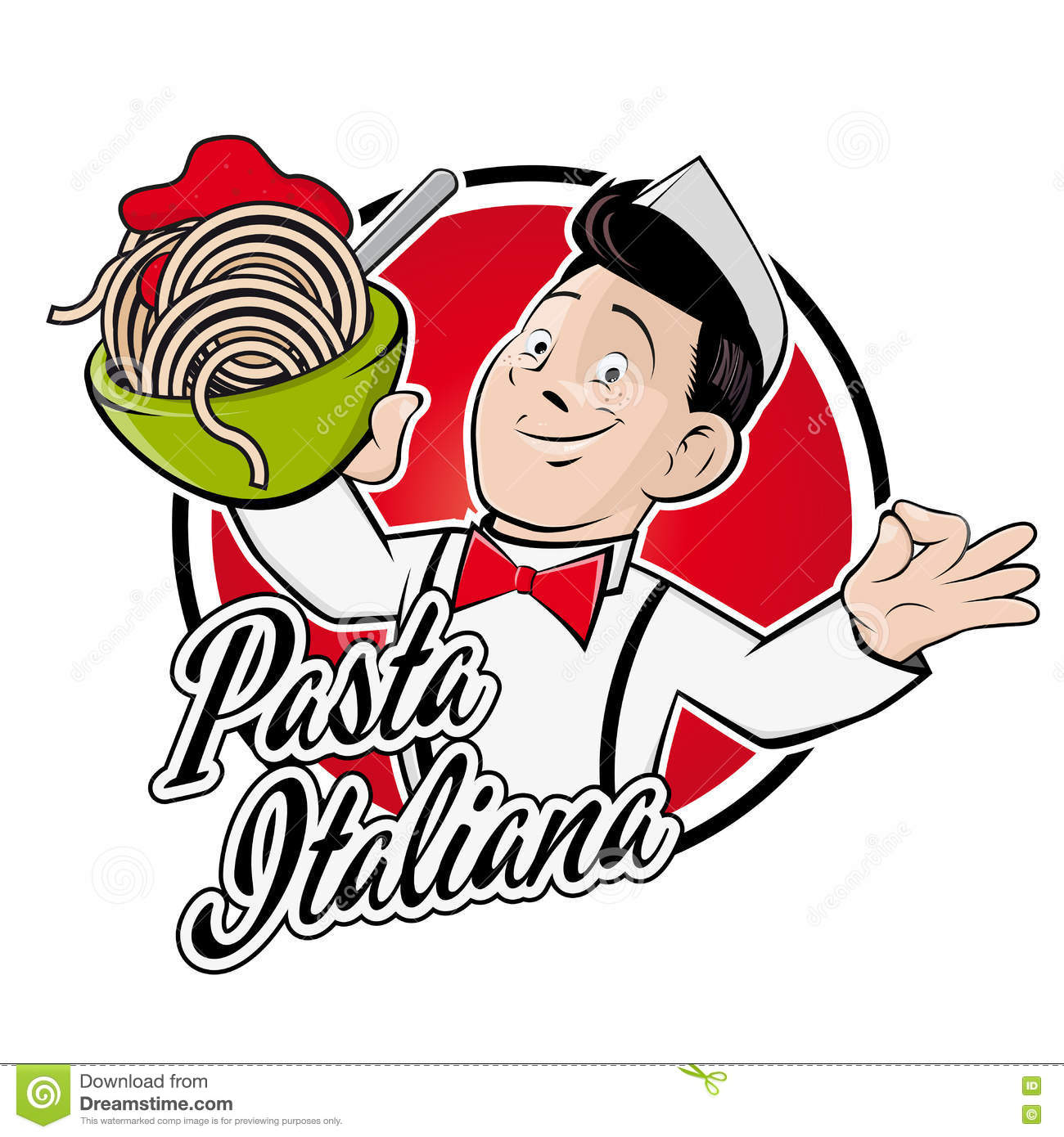 Happy man serving spaghetti with a text that means italian pasta