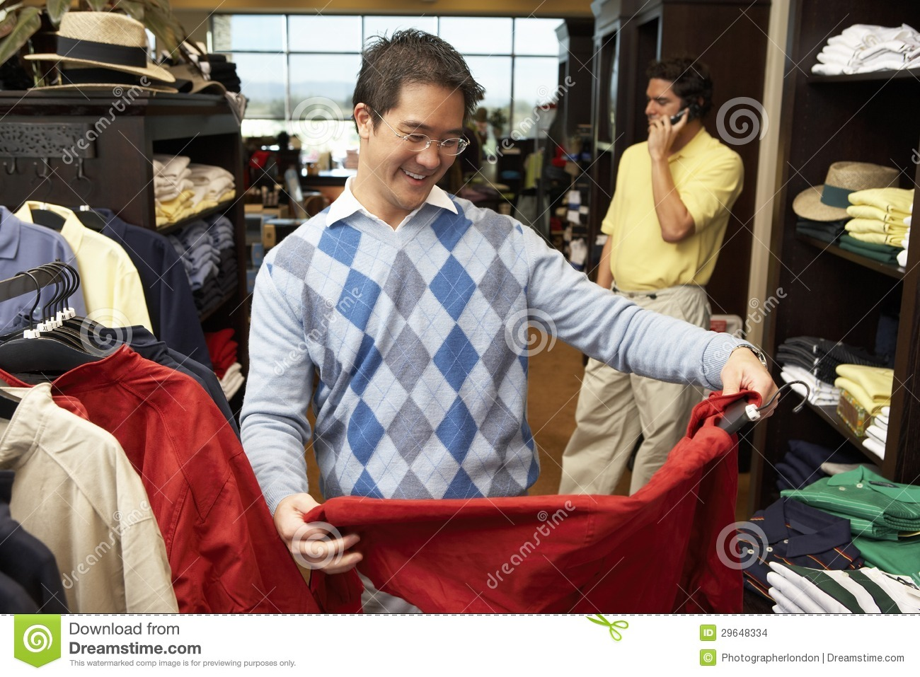 Happy Man Shopping In Clothing Store Stock Images - Image: 29648334