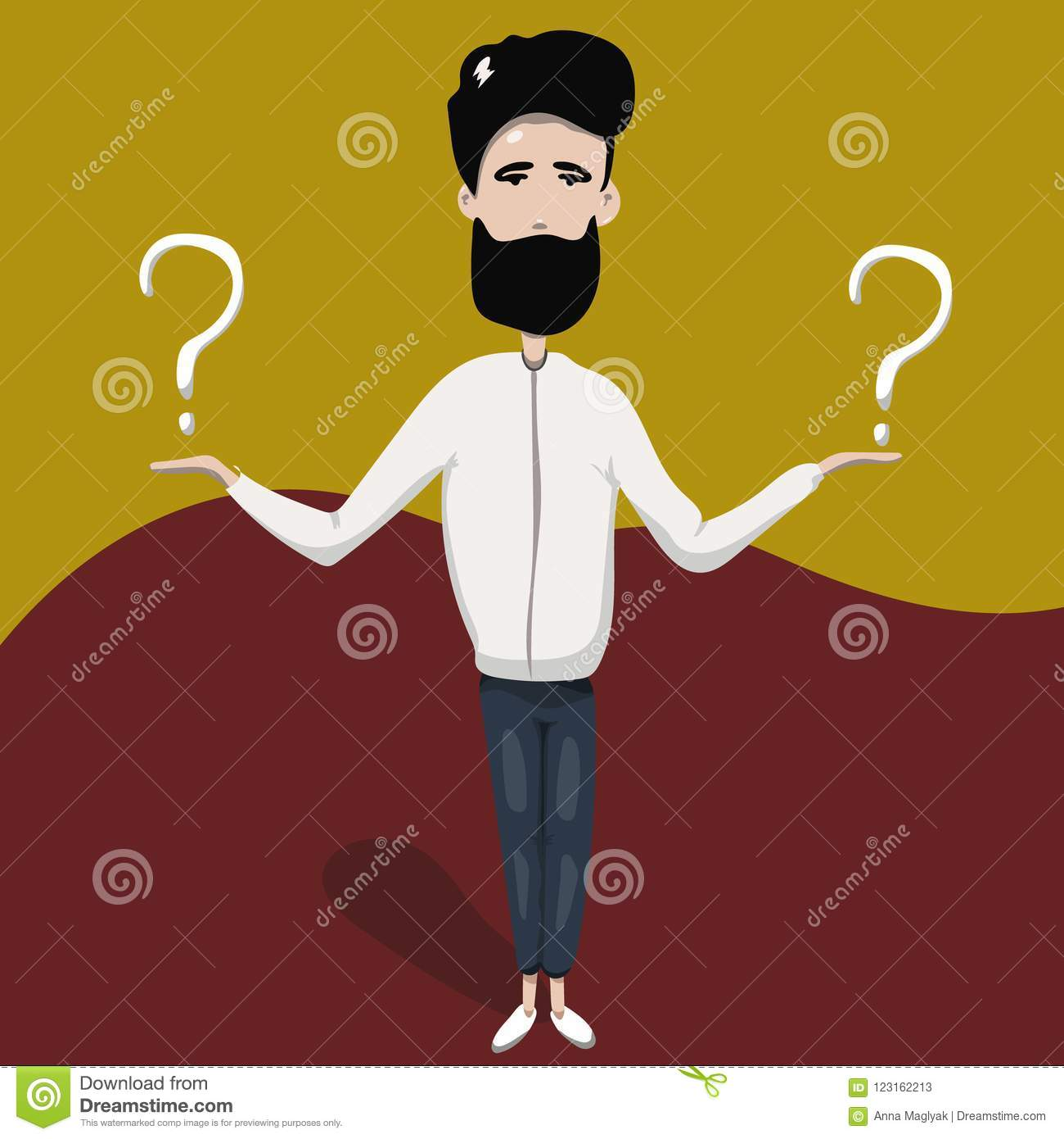 Happy man shows gesture cool. Vector illustration