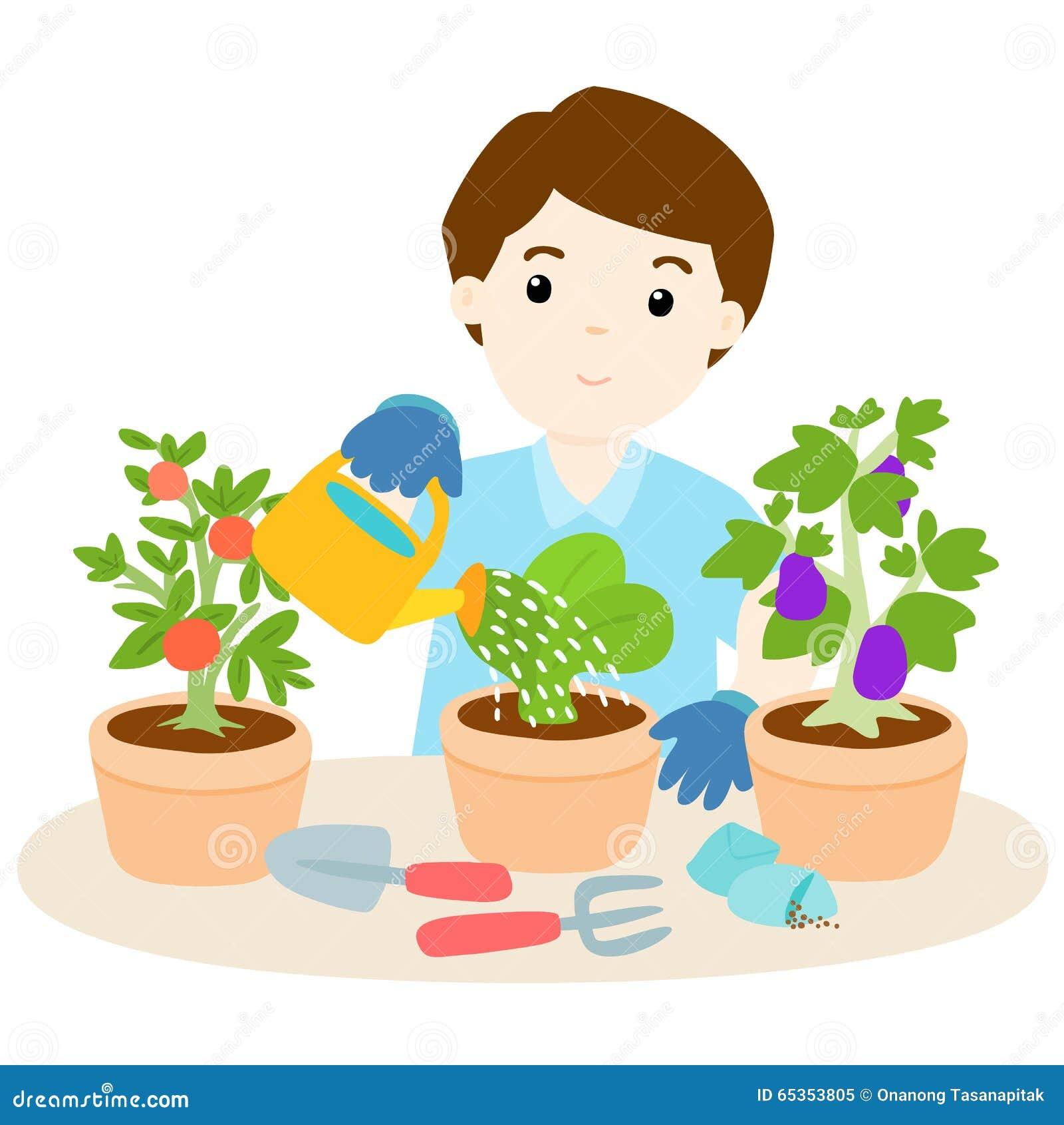happy man watering plants cartoon stock vector