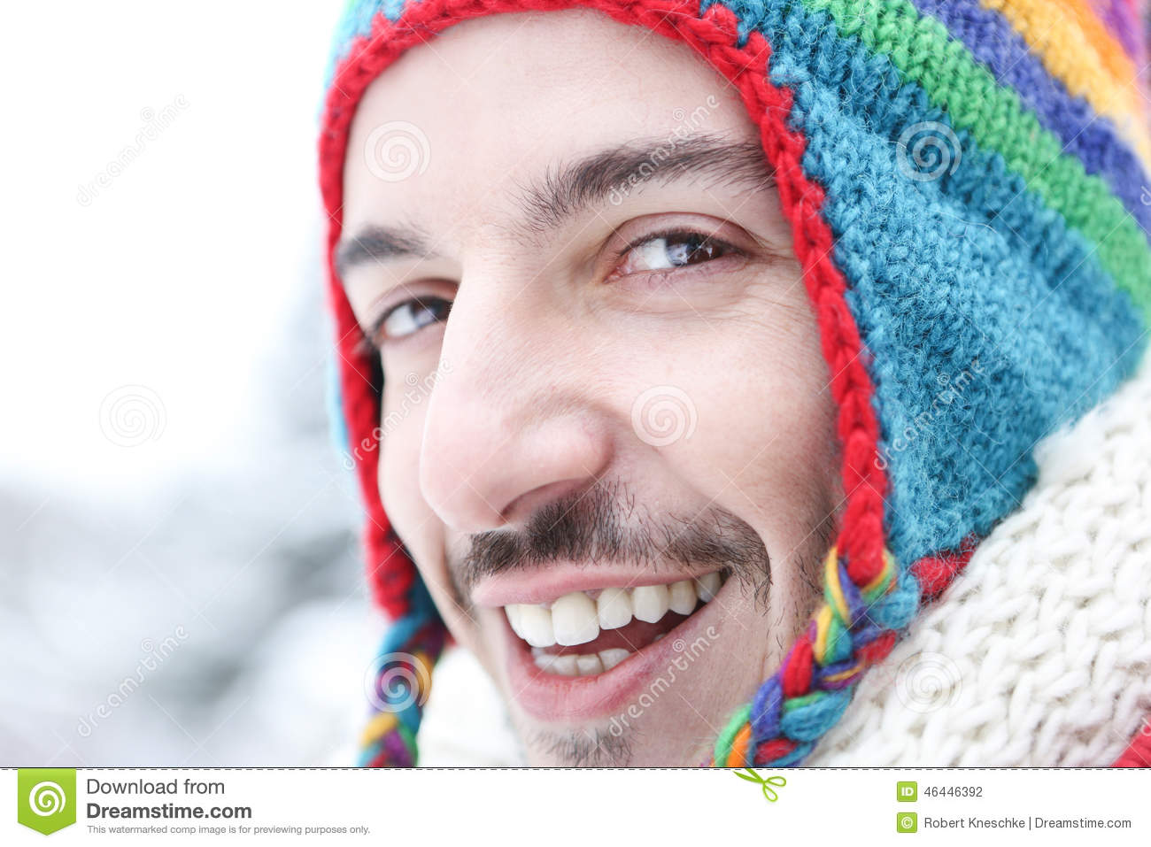 e8091a032e67 Happy Man In Winter With Wool Cap Stock Photo - Image of wool ...