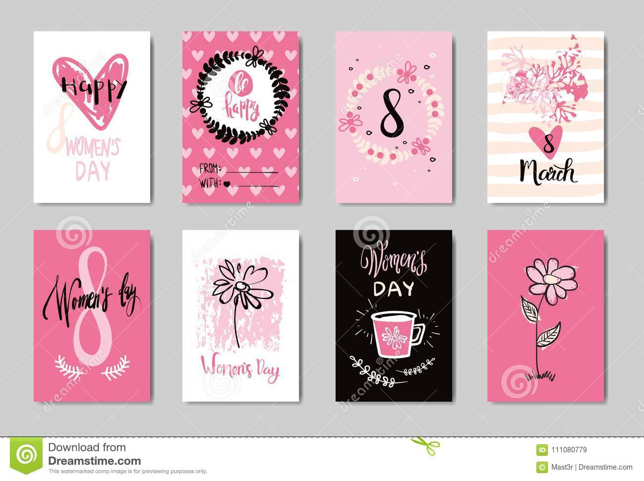Happy 8 March Cute Doodle Greeting Cards Set Pink Background Design