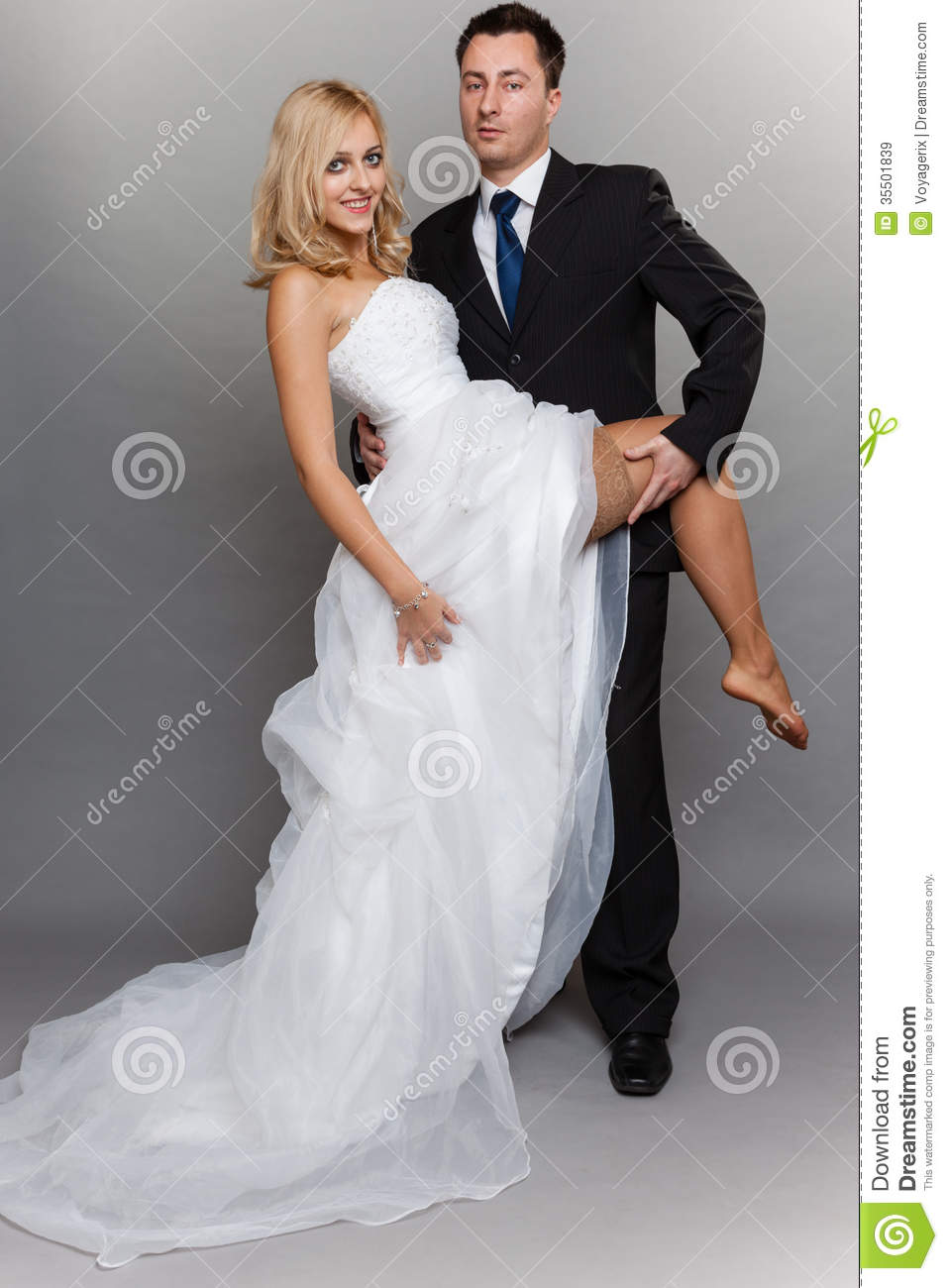 Happy Married Couple Bride Groom On Gray Background Stock Image - Image Of Pretty -6740