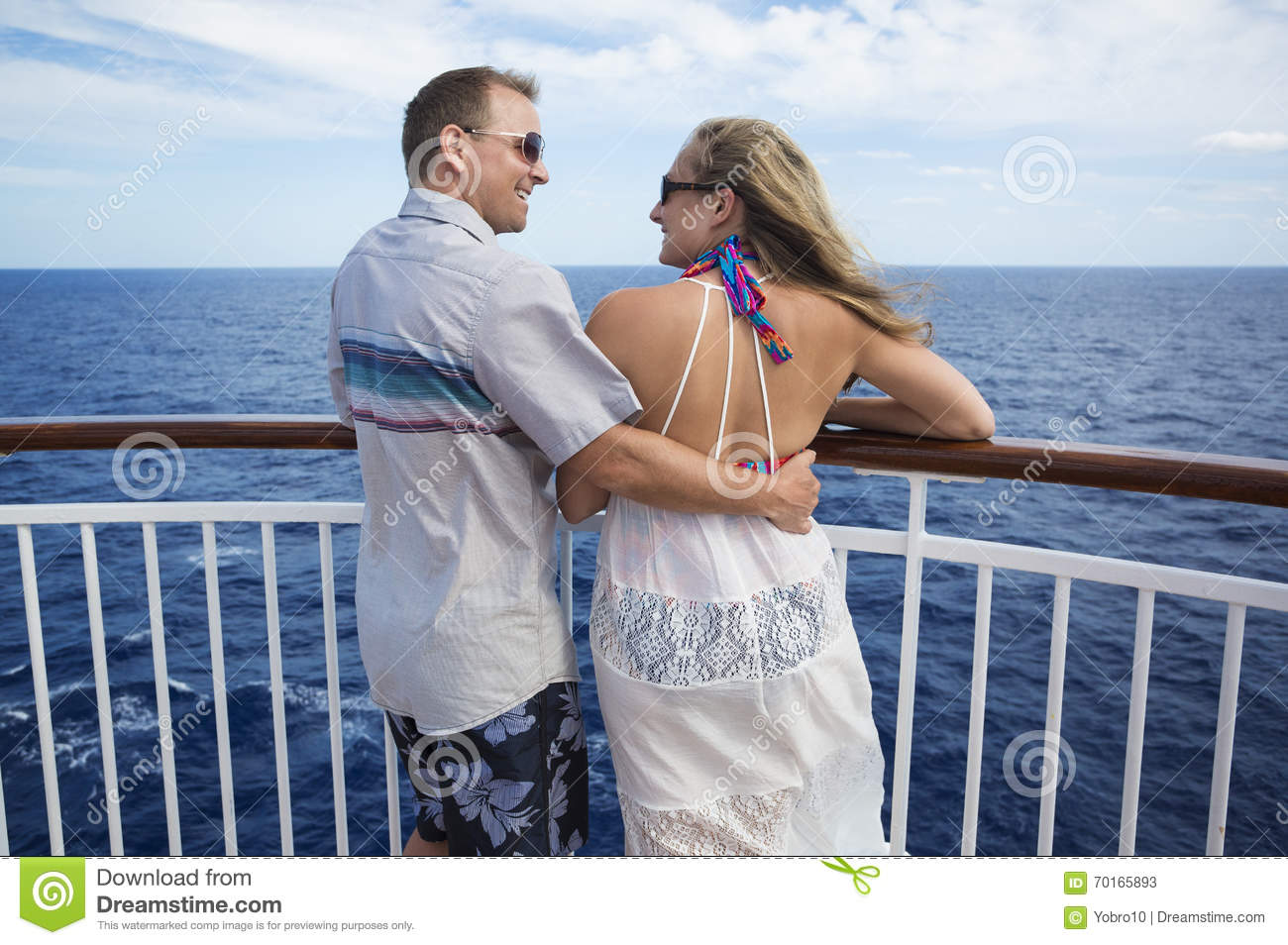Happy Married Couple On A Cruise Together Stock Photo