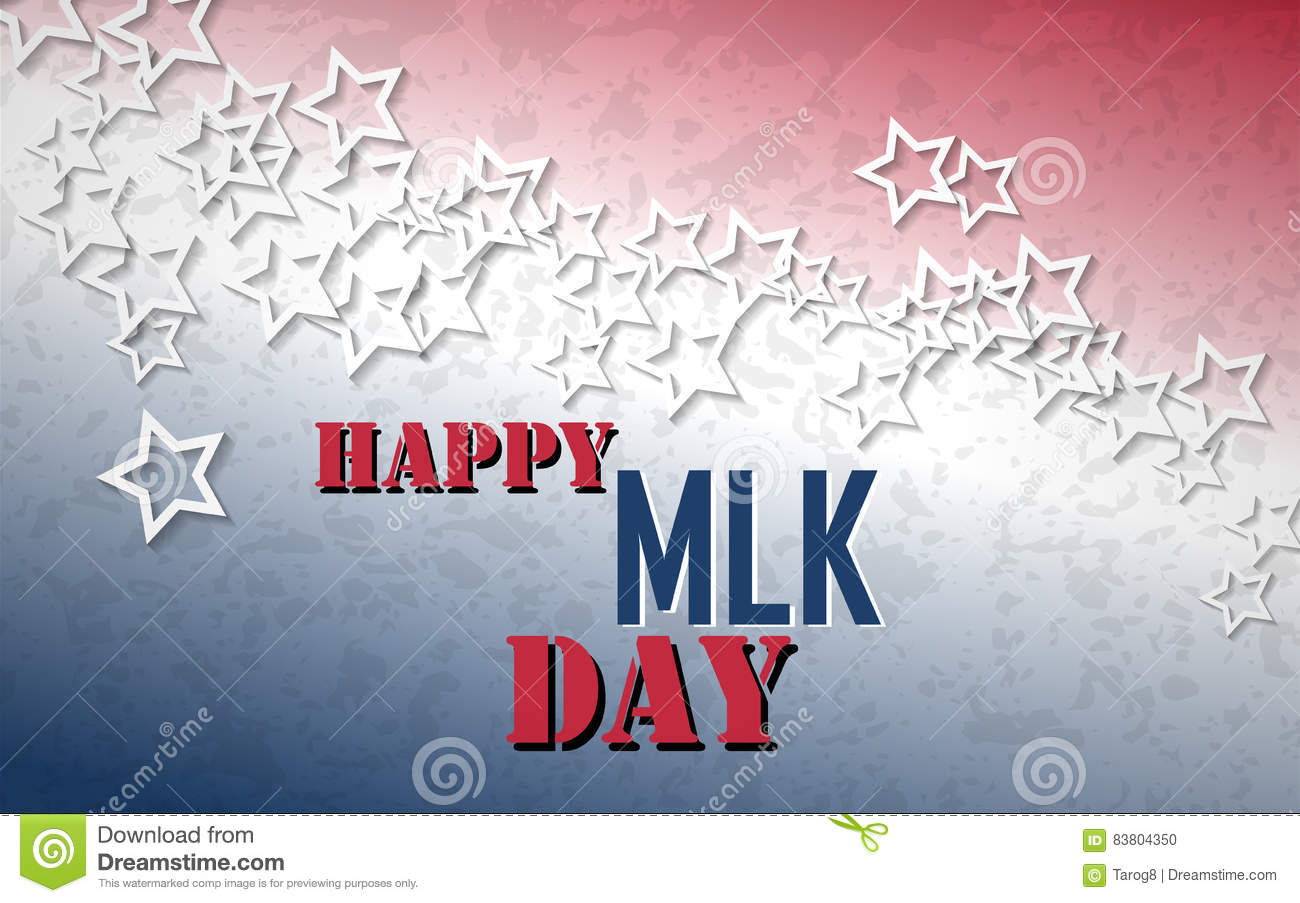 Happy Martin Luther King Day Poster White Stars With Red And Blue