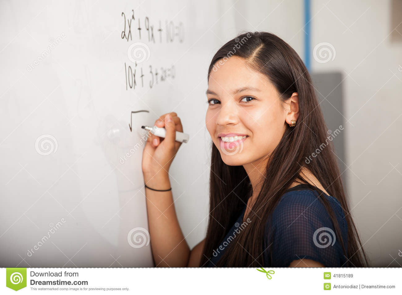 Happy Math Student In Class Stock Image - Image of classroom, school ...