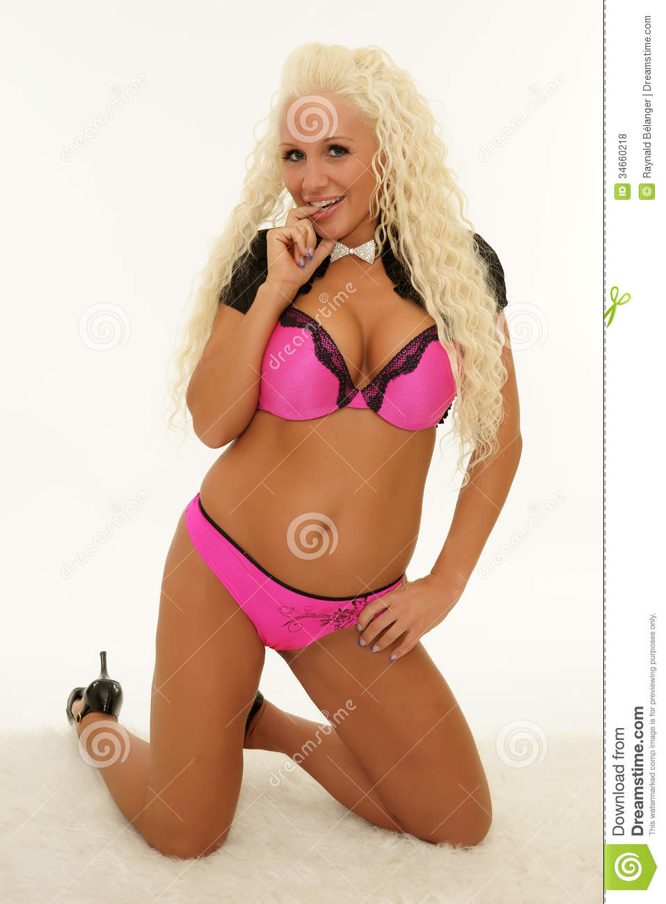 happy mature blond smiling in lingerie stock photo - image of human