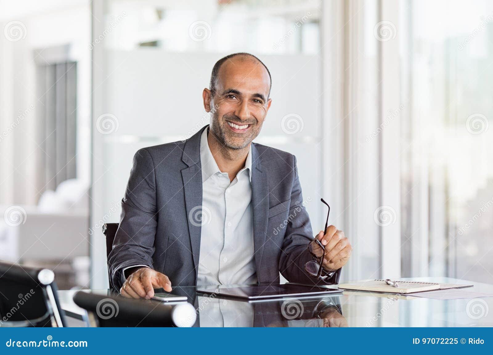 Happy mature business man