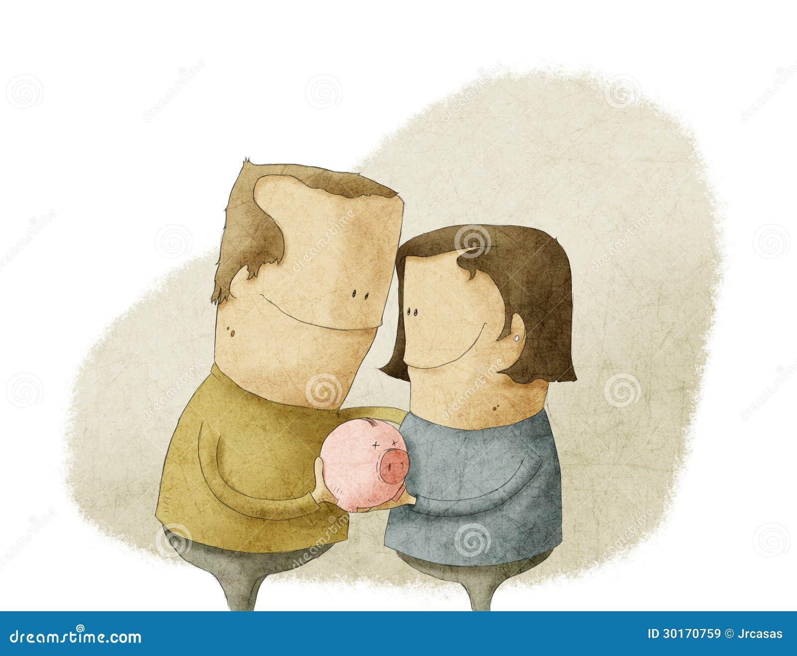 Happy mature couple holding a piggy bank