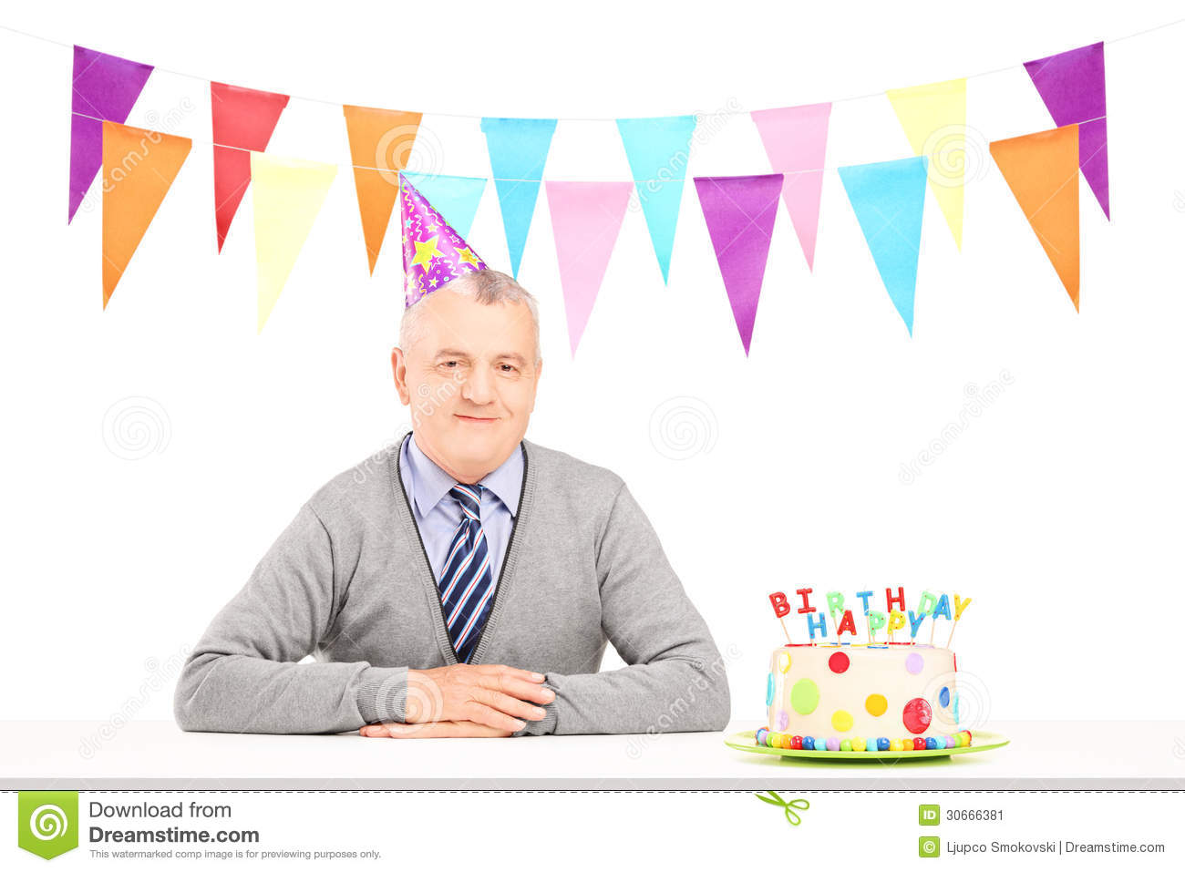 Happy Mature Gentleman With Party Hat And A Birthday Cake Stock ...