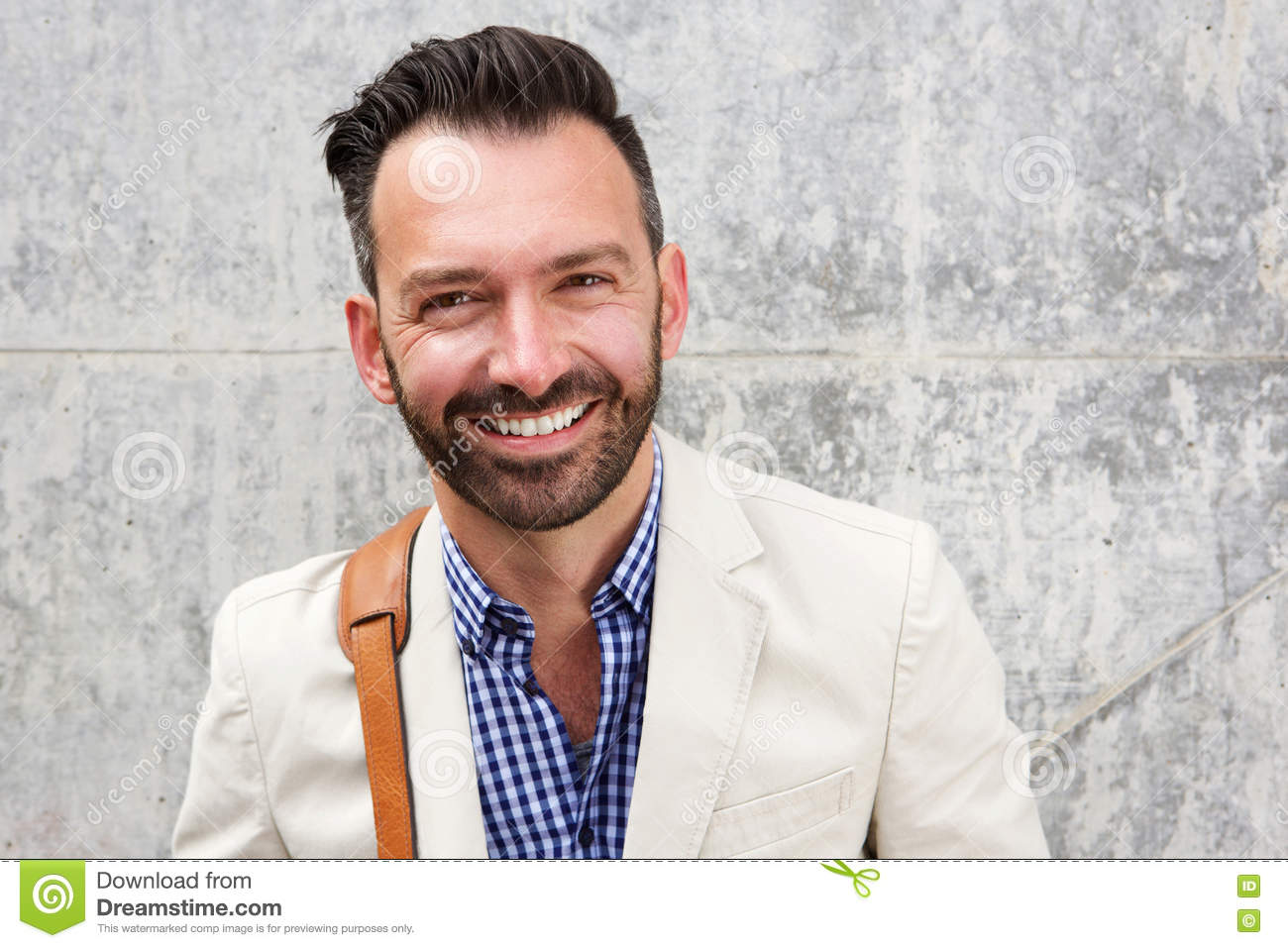 Happy mature man with beard smiling
