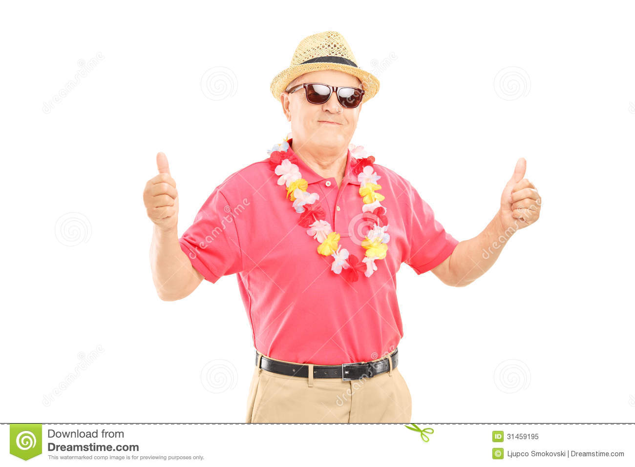 happy mature man with hat and sunglasses giving thumbs up stock