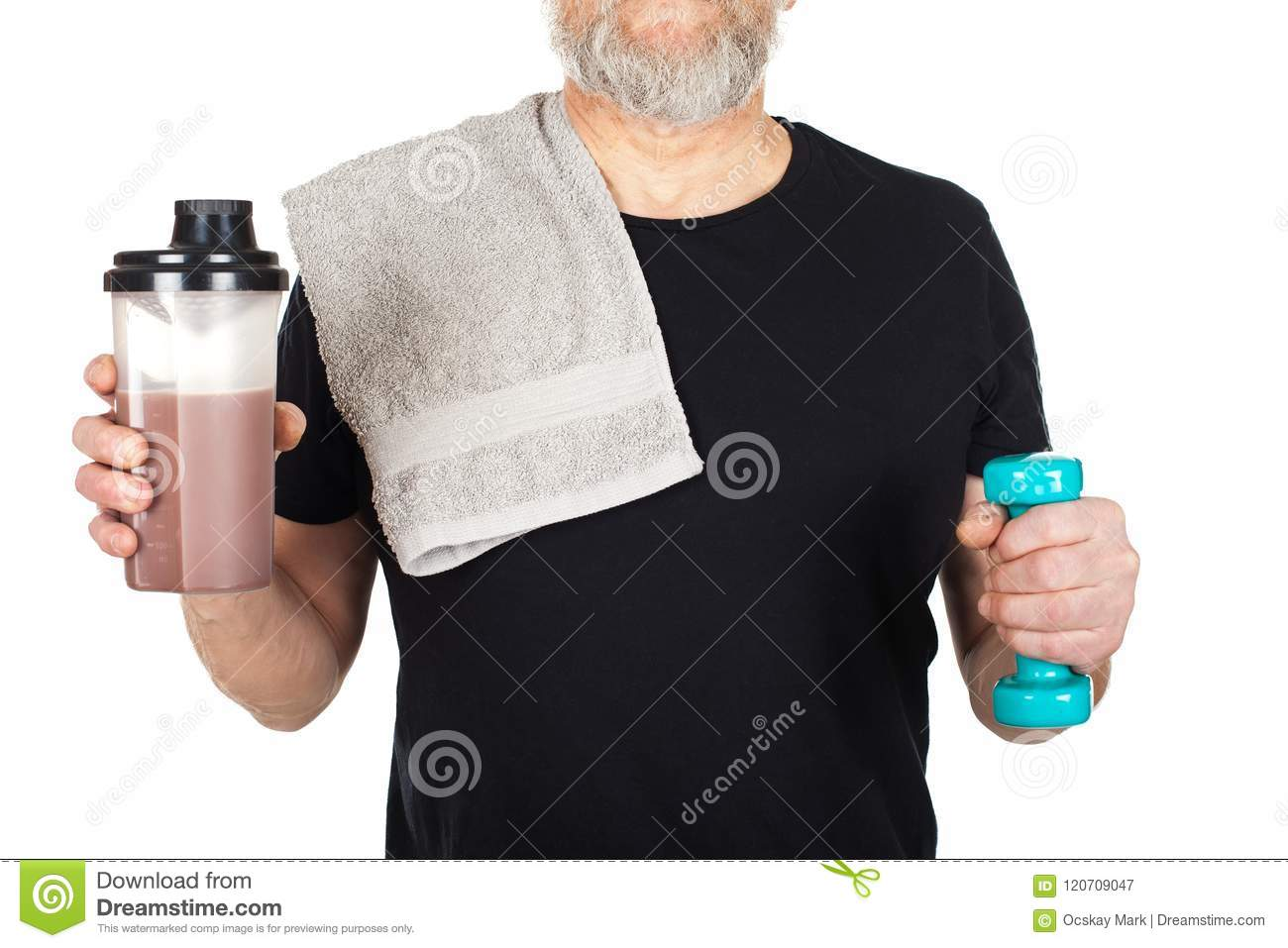 Mature gets a protien shake