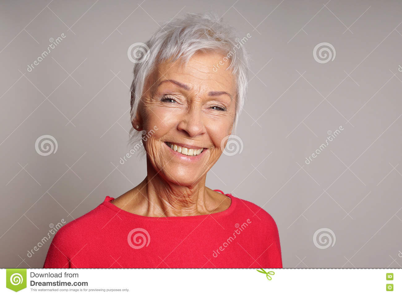Happy mature woman in her sixties