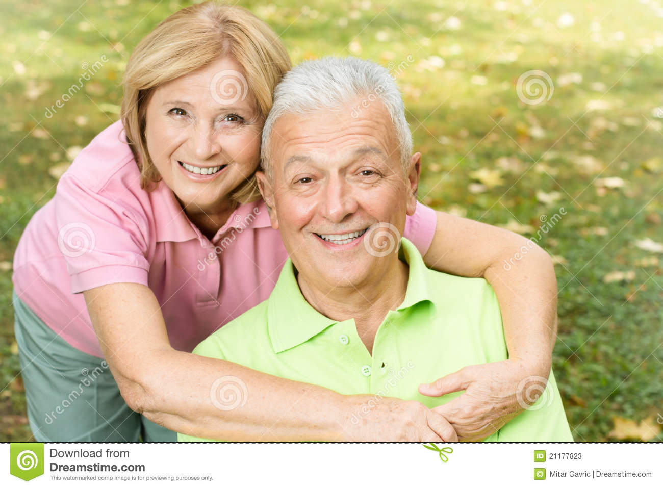 happy mature woman hugging her husband