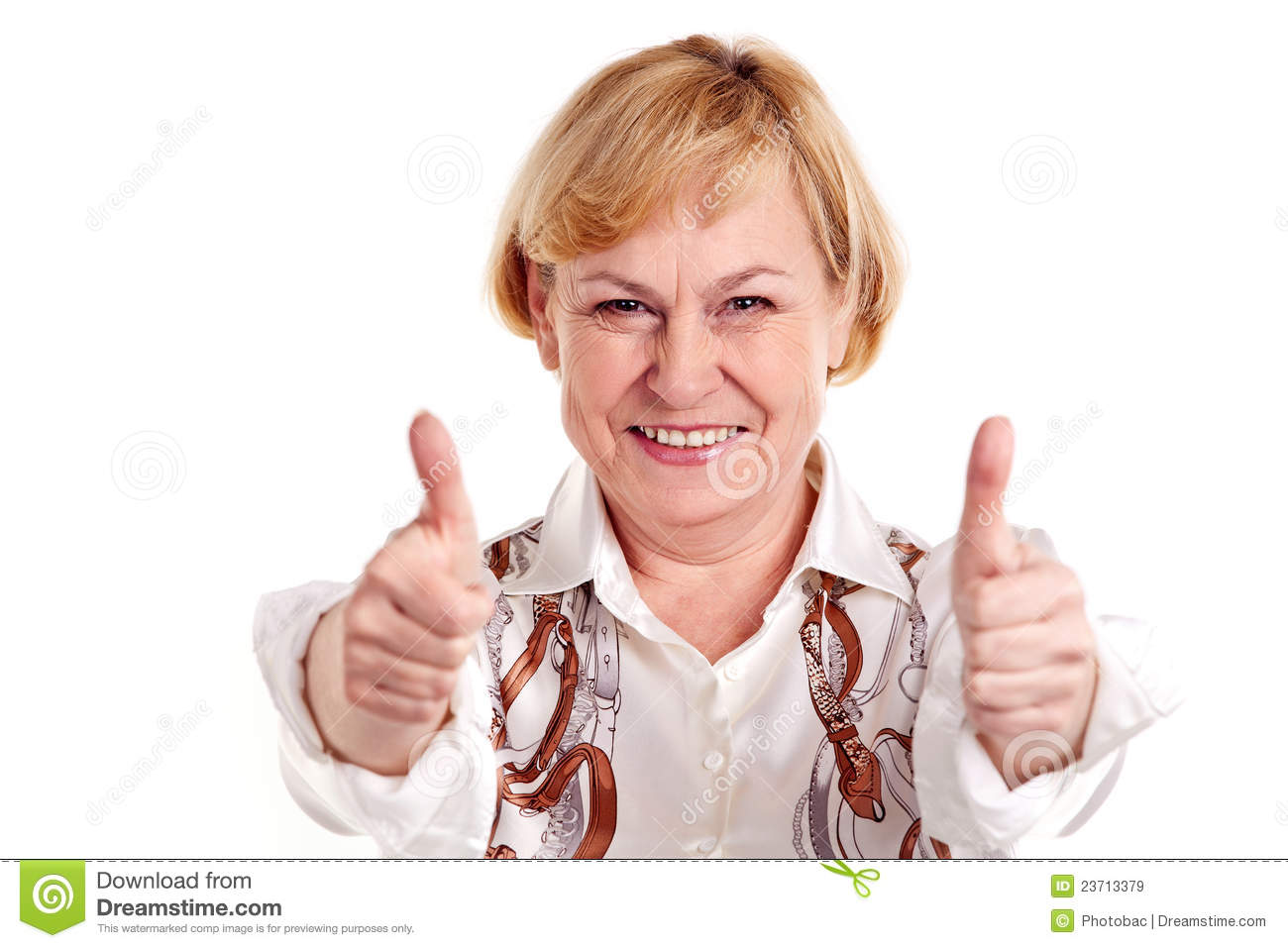 Happy mature woman showing thumbs up sign