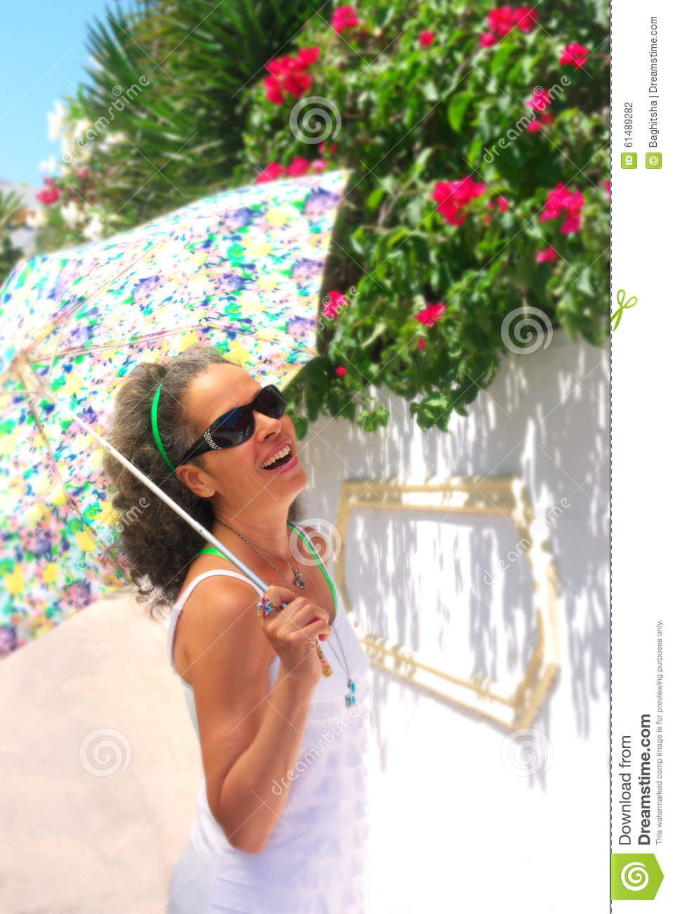 happy mature woman with umbrella stock photo - image of sunny