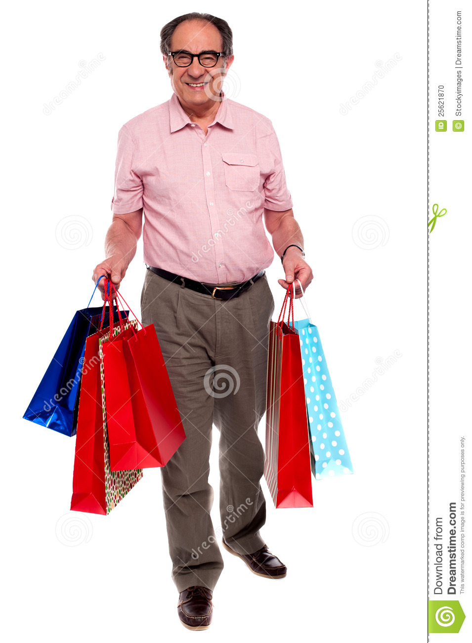 Happy Matured Man Carrying Shopping Bags Stock Photo - Image: 25621870