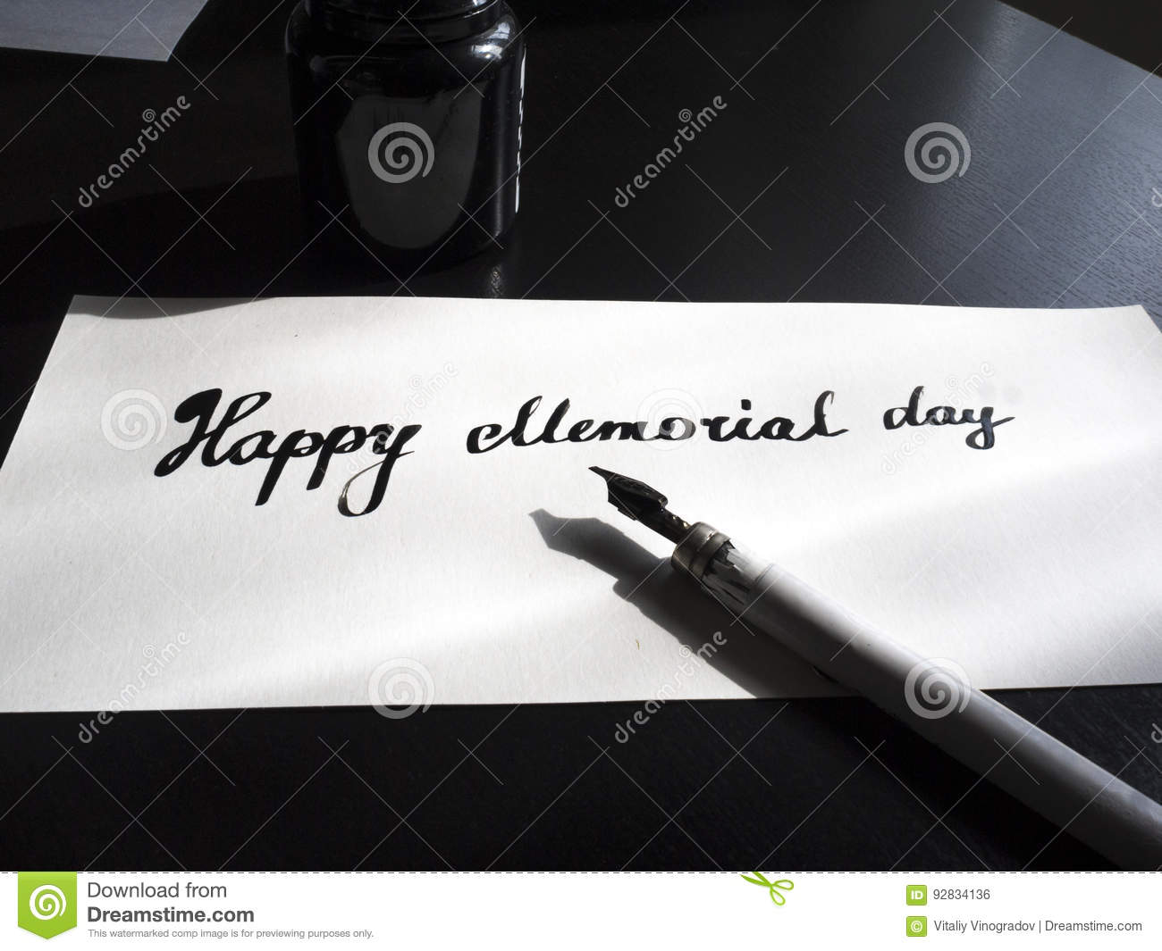 Happy Memorial day calligraphy and lettering post card. Perspective view. Small letters.