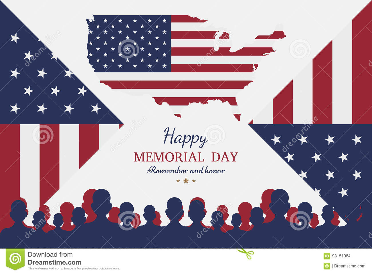 Happy Memorial Day. Greeting Card With Flag And Soldier On ...