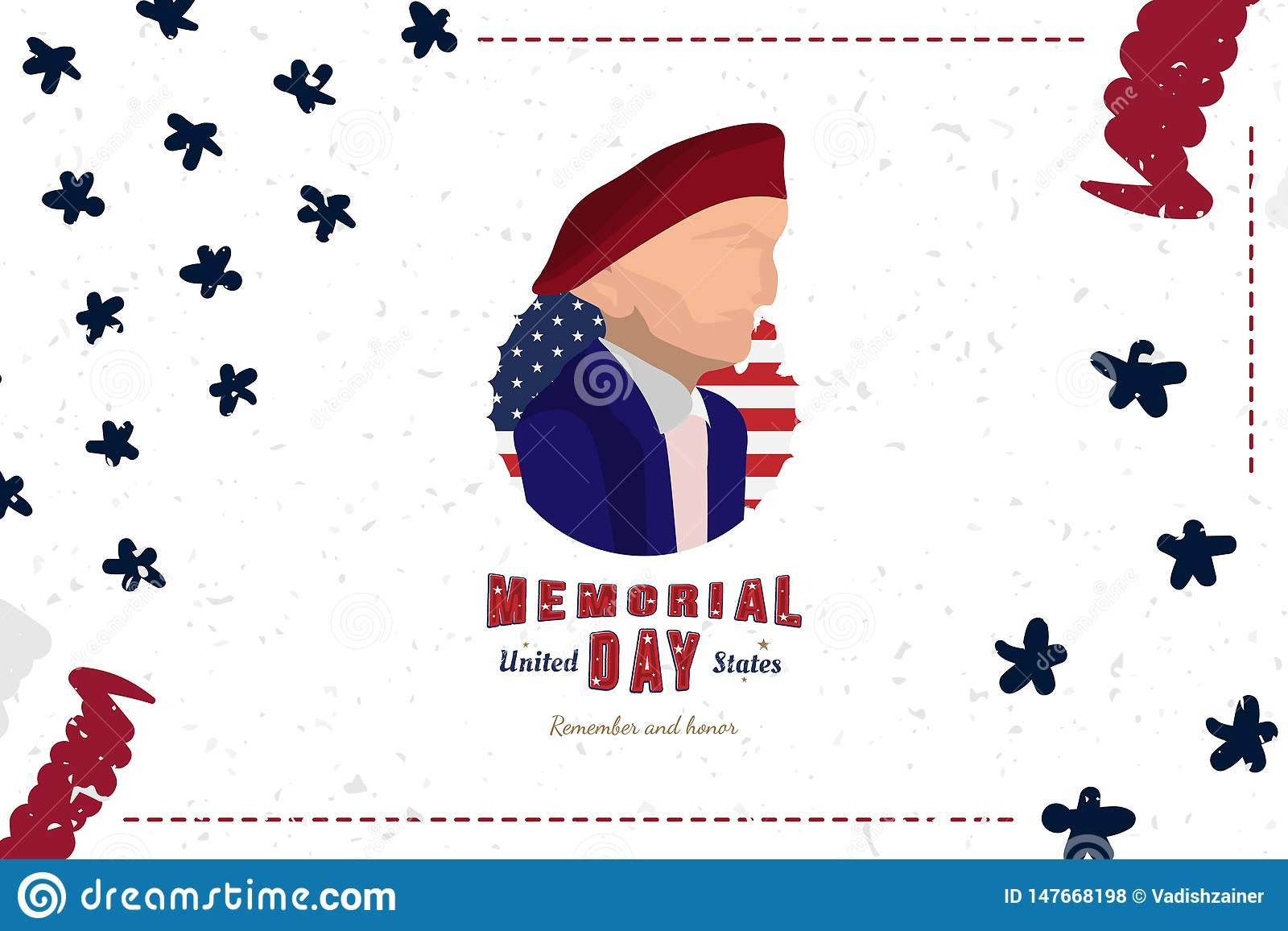 Happy Memorial Day. Greeting card with Soldier and original font and USA flag. Template for American holidays. Flat illustration
