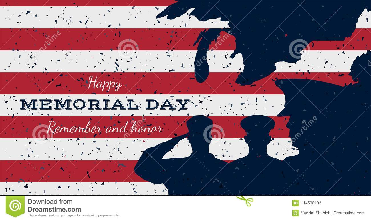 Happy Memorial Day Vintage Retro Greeting Card With Flag And